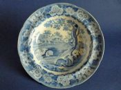 'Grazing Rabbits' Pearlware Soup Plate c1820 #1